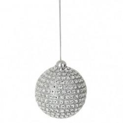 Set de 6 boules de Noël rondes décorées - Ø 6 cm - Argent