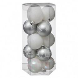 Lot de 5 boules de Noël - 50 mm - Assortis