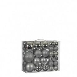 Boule incassable argent 46 pieces - d8cm