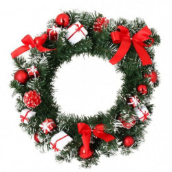 Couronne de Noël verte avec décors boîtes cadeaux