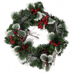 Couronne de Noël 40 cm - décor houx