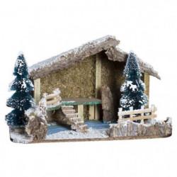 Creche de Noël en Mousse et Bois avec de la Neige