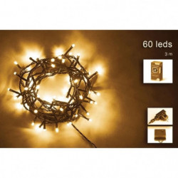 Guirlande de Noël - 60 LED - 5 mm - Blanc chaud