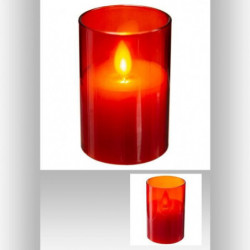 Bougie LED cire flamme - 5 x 7,5 cm - Rouge