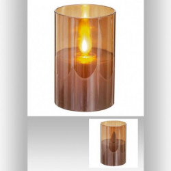 Bougie LED cire flamme - 5 x 7,5 cm - Or