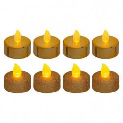 Lot de 8 bougies LED chauffe-plats - pailletées et métallisées