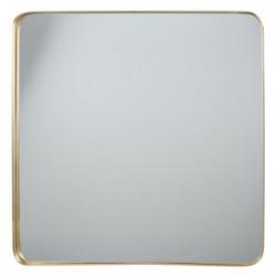 Miroir carré en aluminium - 60 x 60 x 3,5 cm - Jaune doré