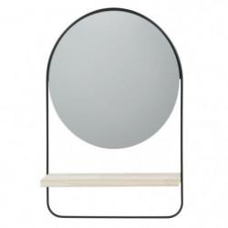 Miroir rond avec étagere - 30,5 x 45 x 7,5 cm - Noir