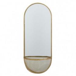 Miroir oval avec panier - 20 x 50 x 9 cm - Jaune doré