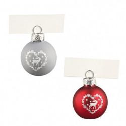 Lot de 4 Boules de Noël porte-nom argenté en verre et métal