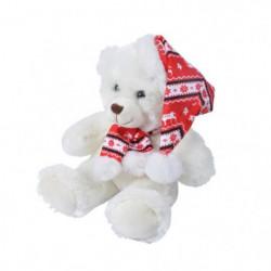 AUTOUR DE MINUIT Peluche ourson avec écharpe et bonnet
