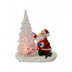 Sapin de Noël RGB avec Pere Noël - 14 x 12 x 8 cm