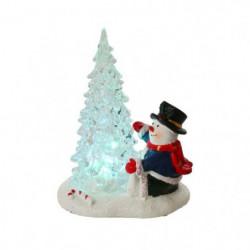 Sapin de Noël RGB avec Bonhomme de neige - 14 x 12 x 8 cm