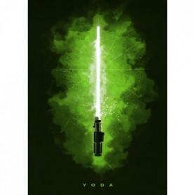 Poster métallique Star Wars : Sabre Laser Yoda