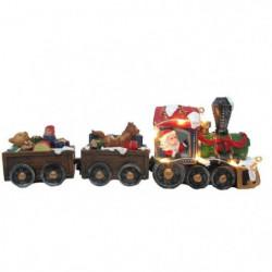 Train du pere Noël avec jouets lumineux - 6,8 x 19 cm