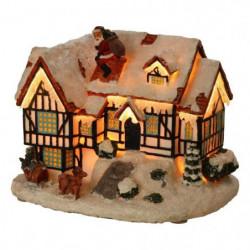 Maison colombages avec pere Noël sur cheminée - 18 x 13,5 x 15 cm