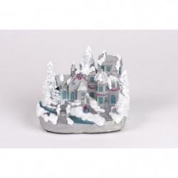 Village enneigé blanc et argent en polyrésine - H 13 cm