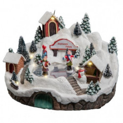 Village de Noël Patinoire avec Chalets lumineux et animé