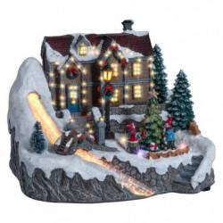 Village de Noël Maison Lumineux et Animé