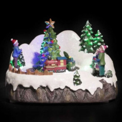 Village de Noël lumineux Bonhomme de Neige avec Mouvement