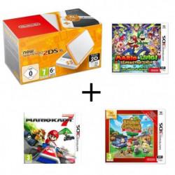New 2DS XL Blanche Orange + Mario & Luigi : Superstar Saga + …