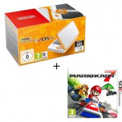 New Nintendo 2DS XL Blanche et Orange + Mario Kart 7