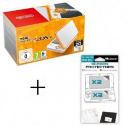 Pack New 2DS XL Blanc/Orange + Ecran de protection