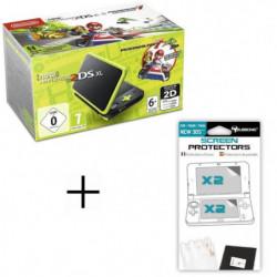 Pack New 2DS XL Noir/Citron vert + Mario Kart 7 + Ecran