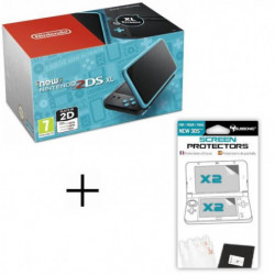 Pack New 2DS XL Noire/Turquoise + Ecran de protection