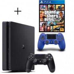 Pack PS4 500 Go Noire + Manette DualShock 4 Bleue PS4 V2 + GTA V