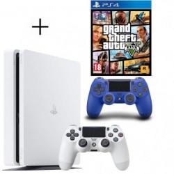 Pack PS4 500 Go Blanche + Manette PS4 DualShock 4 Bleue V2 + …