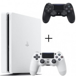 Pack PS4 500 Go Blanche + Manette PS4 DualShock 4 Noire V2