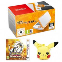 New Nintendo 2DS XL Blanche et Orange + Pokémon Soleil Jeu 3DS