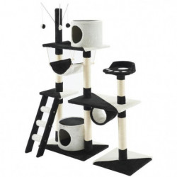 Arbre a chat Paradis - 110x40x130cm - Noir et blanc