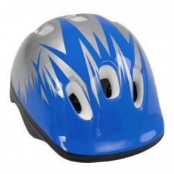 Casque vélo enfant, bleu et blanc, taille : 52 - 56 cm.