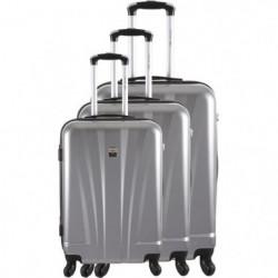 FRANCE BAG - Set de 3 valises ABS/POLYCARBONATE 8 roues Argent