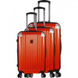 FRANCE BAG - Set de 3 valises ABS/POLYCARBONATE 8 roues Orange