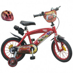 """CARS Vélo 14"""" + Casque - Enfant - Rouge et noir"""