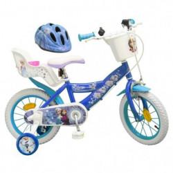 """LA REINE DES NEIGES Vélo 14"""" + Casque - Enfant fille - Bleu et"""
