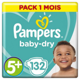 PAMPERS Baby Dry Taille 5+ - 13 a 25kg - 132 couches