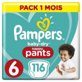 PAMPERS Baby-Dry Pants Taille 6, 15kg+, 116 Couches