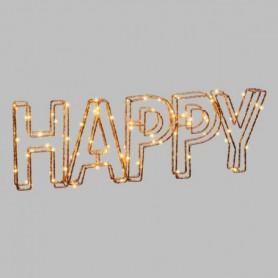 LOTTI Ecriture Happy 3D en fil métal 46x15 cm