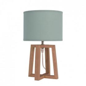BEKER Lampe a poser en bois avec abat-jour en tissu