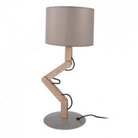 GERI Lampe a poser acier bois hetre - 16x30x45cm