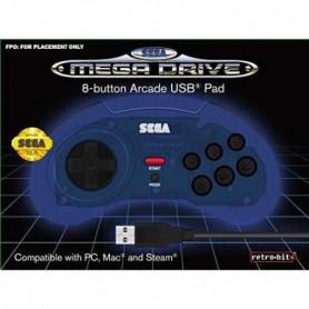 Manette filaire bleue Retrobit SEGA Mega Drive