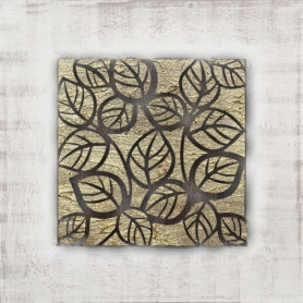 Toile peinte Feuilles - Peinture en relief - 70x70cm