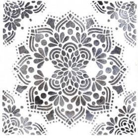 Toile peinte relief Fleur - Tons gris fond blanc