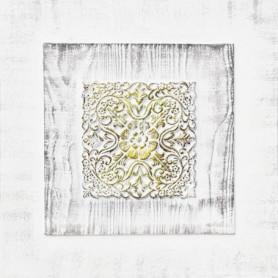 Toile peinte relief carreaux de ciment - Fleur dorée