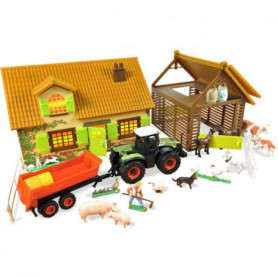 NOREV Ferme avec tracteur claas et remorques