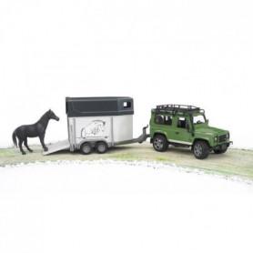 BRUDER - LAND ROVER Defender 90 Break avec van et cheval